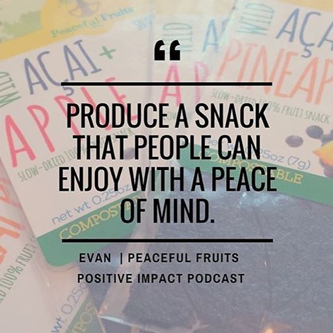 Our team loves this quote from the founder of @peaceful_fruits! @positiveimpactpodcast always provides us with informative and inspirational content!