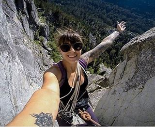 Clair Marie @thebasegirl getting it 400 feet up! #summerfun #climbing #climb #goagainstthegrain