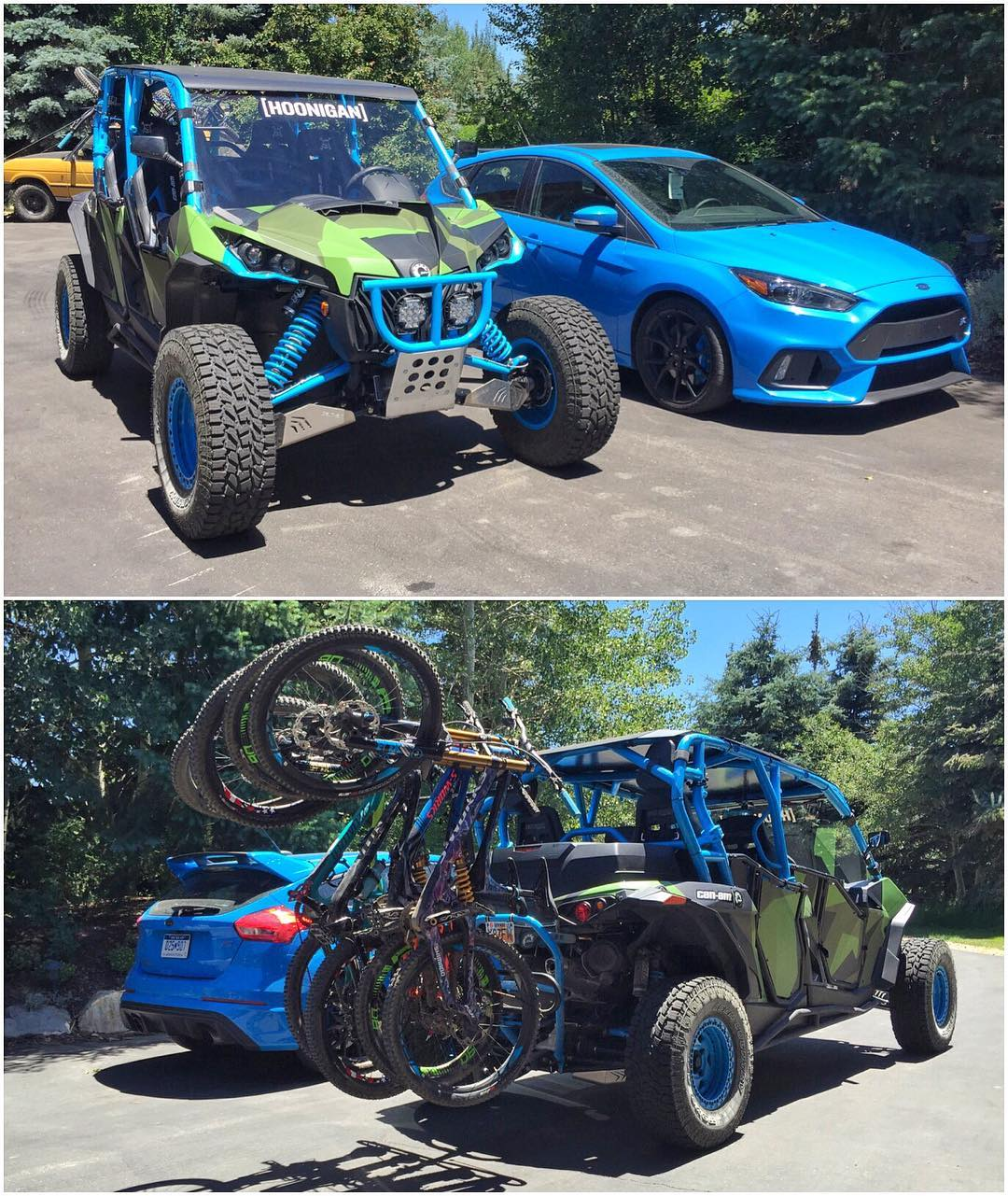 Current setup in my driveway: two very different ways to have 4-wheeled fun. #choiceschoices #hooneverything #funshuttle #CanAm_by_KenBlock #FordFocusRS