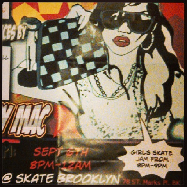 Nyc September 6th. Skate Brooklyn girls skating, art and music and it all benefits NYC GRO.