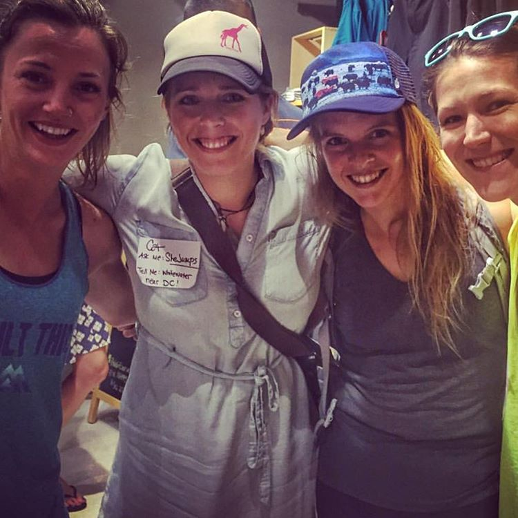 New SJ ambassador @catwile is introducing SheJumps to DC! Here she is hanging with @thenorthface athletes spreading the word. Thx Cat!