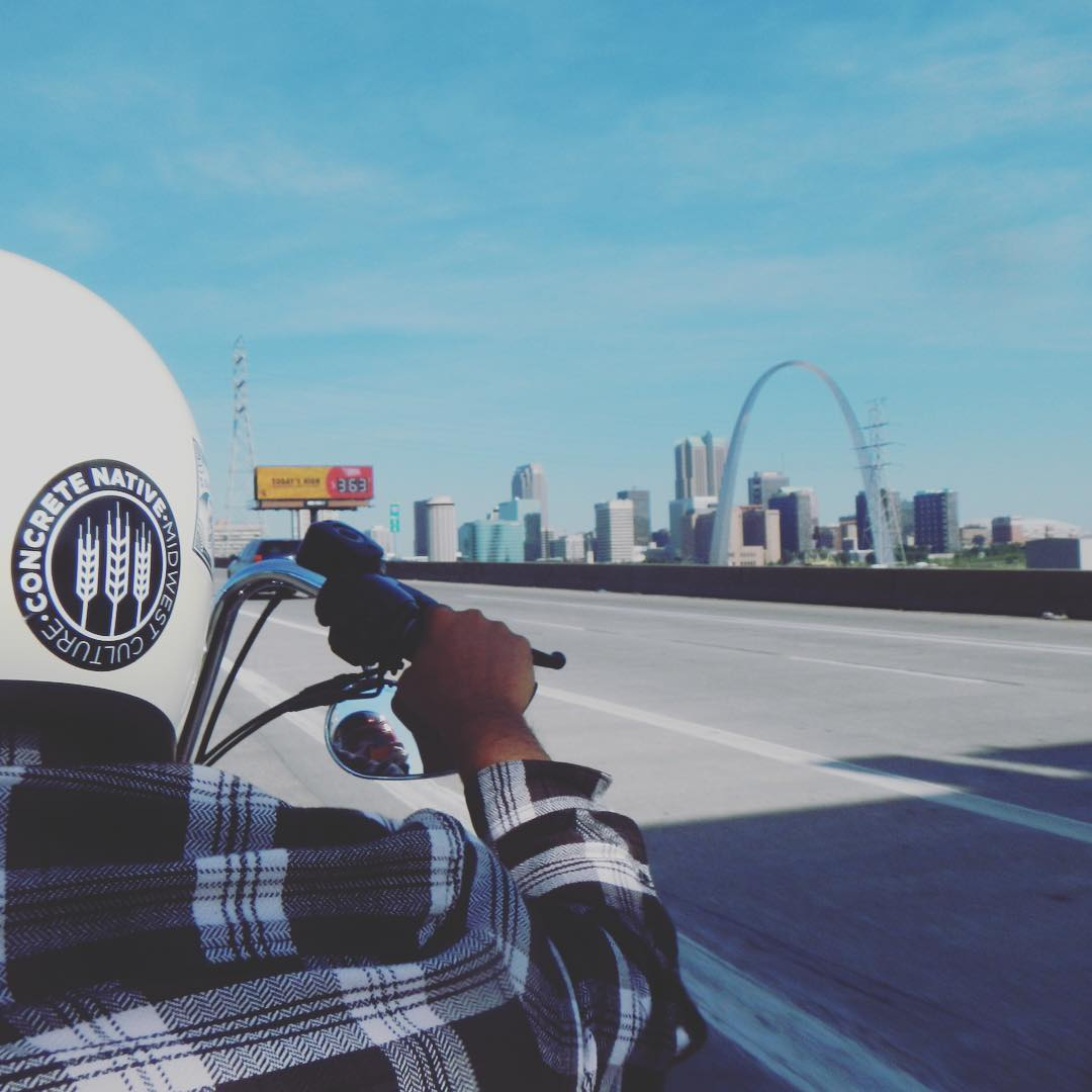 Our bud @cosbi_ out on the road. Where are your weekend travels taking you? #midwest #concretenative #motorcycle #stlouis #travel #weekend photo cred: @jessika.leee