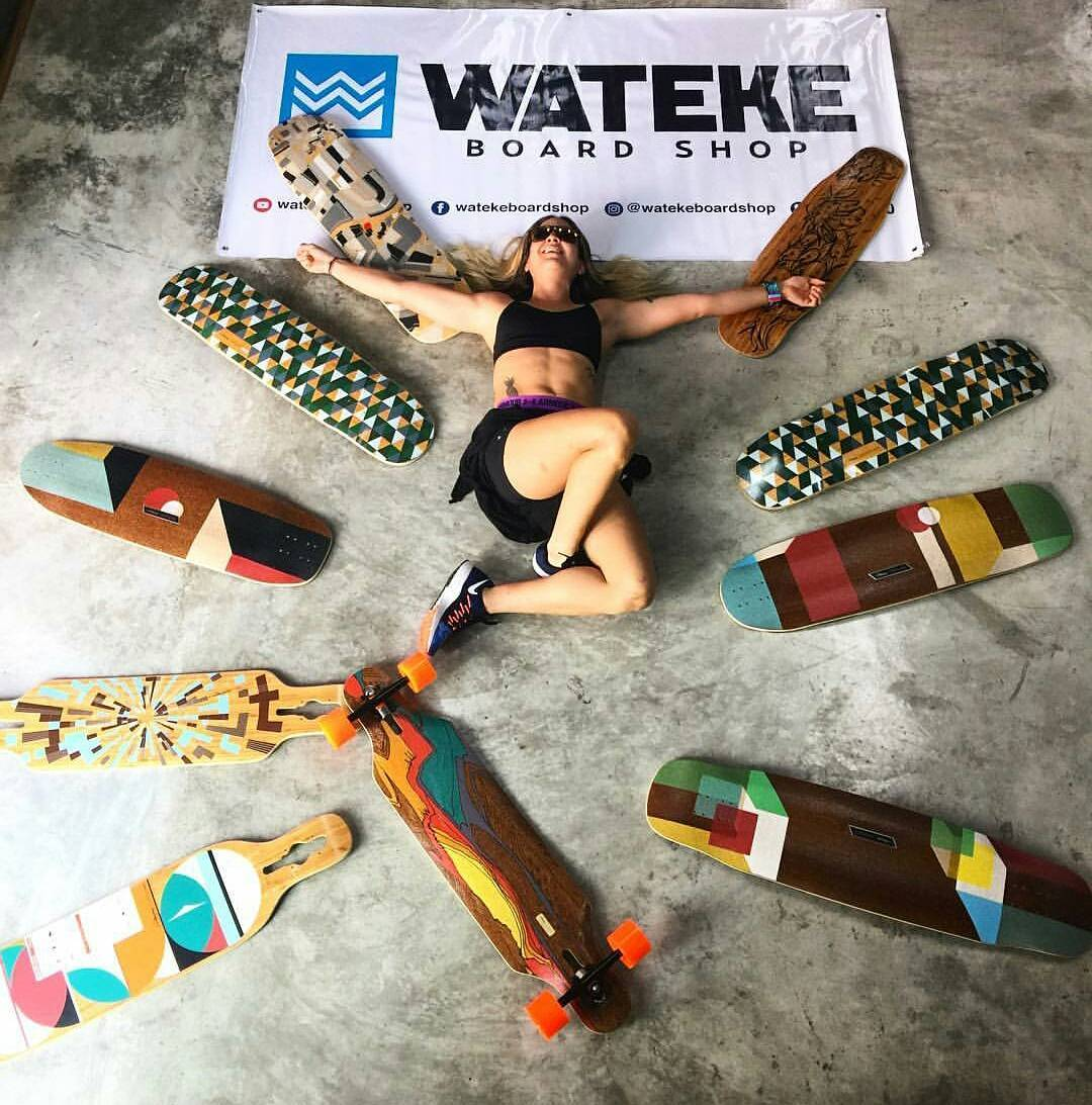 #LoadedAmbassador @ginac7pa surrounded by Loaded love at @watekeboardshop  #LoadedBoards #Tesseract #Poke #DervishSama #Icarus #TanTien #Kanthaka #Overland