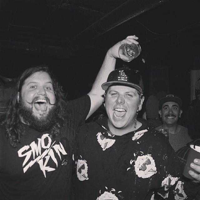 These guys are the two dudes who have helped us become the brand we are now. @joefontaineiii and @binkyinc are also 2 of the 3 owners of Smokin. #foridersbyriders #handmadelaketahoe #gg10 #wholovestoparty? #thankyousnowboarding