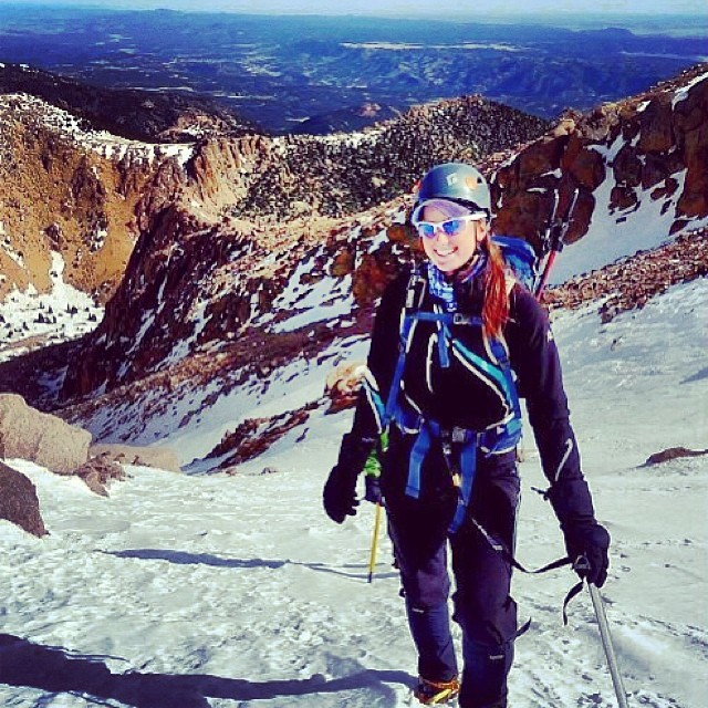 On #wednesday we celebrate our #mountainlifer #mountainlife #women here's @annamigl going Y-couloir up #PikesPeak she started up Crags down to Bottomless Pit and up the Direct Y Route, what an #adventuress #ColoradoAdventure #Couloir #Climbing #GetLost...