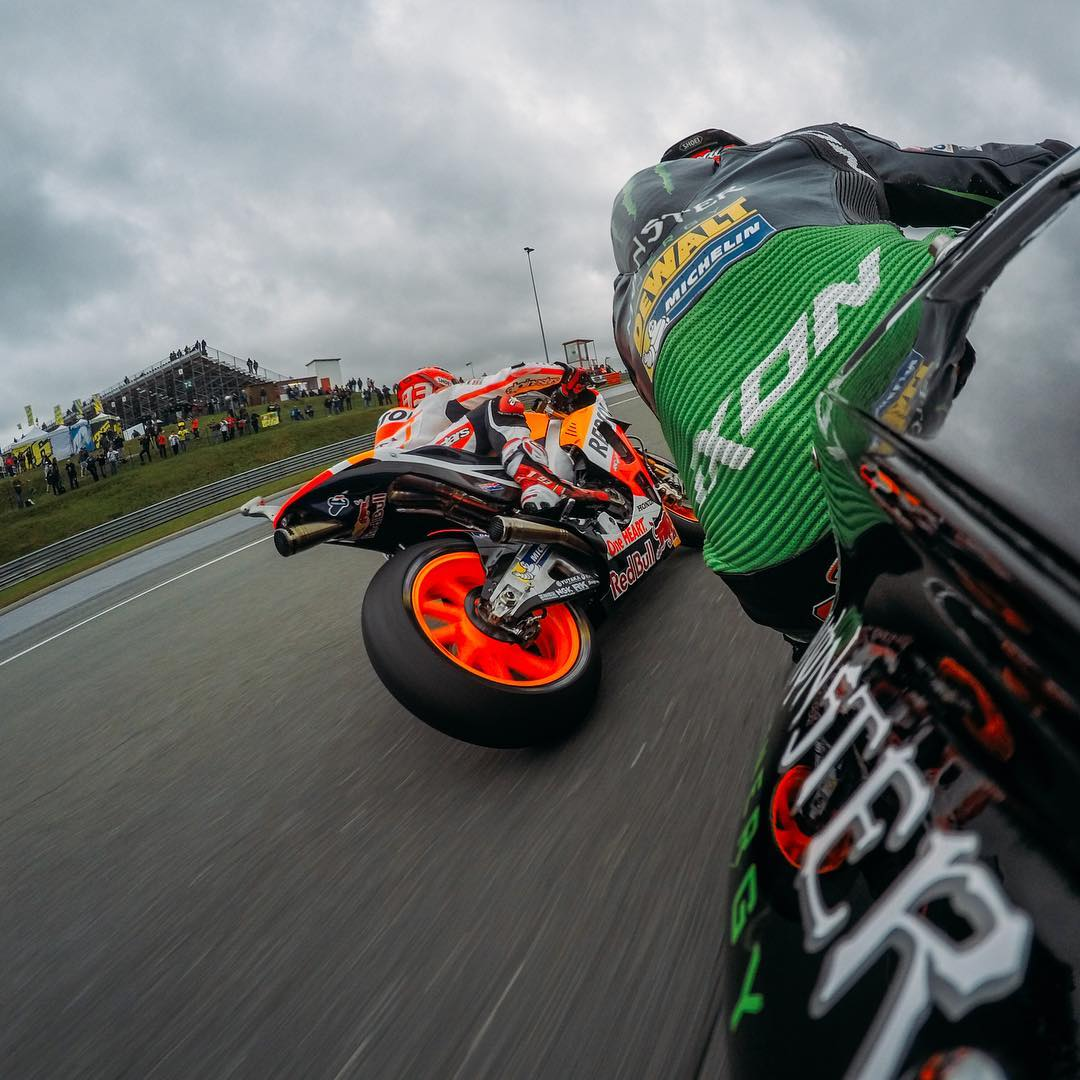 @MotoGP's @marcmarquez93 rippin' around the tight #Sachenring circuit with @bradleysmith38 close behind. #GermanGP #