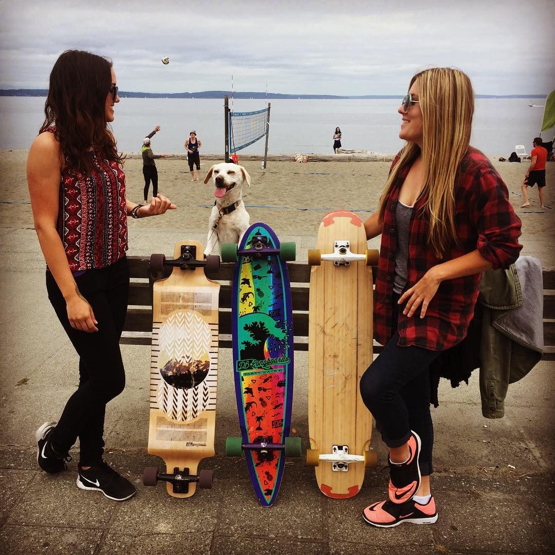 Cruising around Alki Beach in Seattle on the Contra, Party Wave and our dancer prototype. #dblongboards #partywave #seattle #igers_seattle #pnw #longboard #longboarding #westseattle #alkibeach