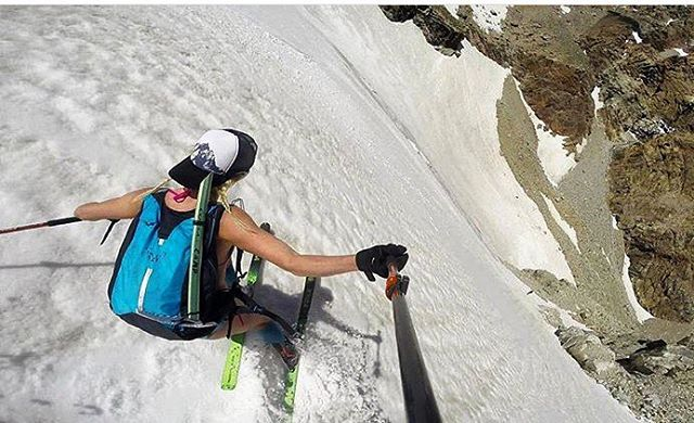 Adventurer @merejune finding some steep corn to shred in the Tetons wearing a bikini and our Majestic trucker hat.  #a7renegade #avalon7 #liveactivated #skiing www.a-7.co