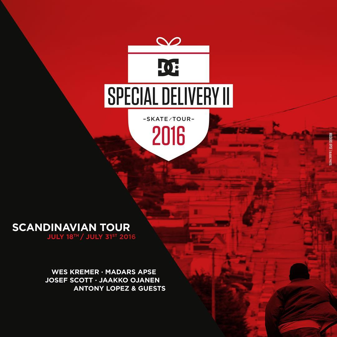 The DC Special Delivery Tour 2 will be in Sweden, Denmark and Norway from July 18-30. Come out and see Wes Kremer, @madarsapse @josefskottjatta and more. For all of the details visit dcshoes.com/DC_SDT2 #dcspecialdeliverytour2 #dcshoes