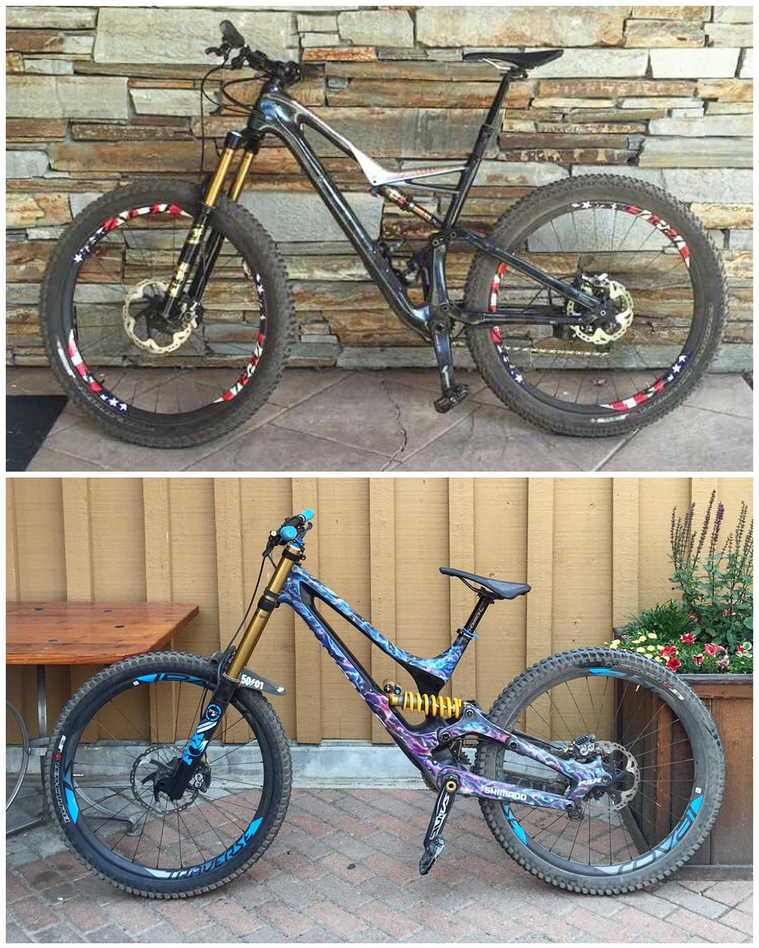 My two mountain biking assault weapons: Specialized StumpJumper and Demo8 bikes. The StumpJumper pedals incredibly well, and handles some downhill stuff - great for traversing mountain trails here in Park City. The Demo8 just HAULS ass on rough...