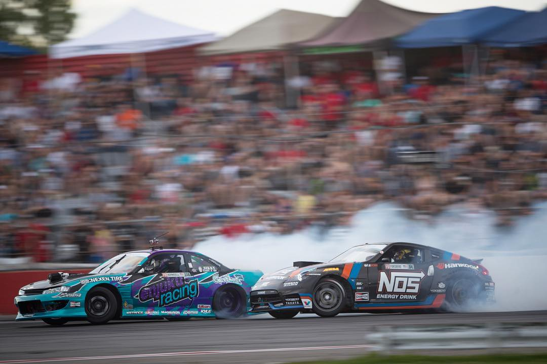 Hype level was high seeing all of our dudes in the top 16! Super rad to see our FD veteran @chrisforsberg64 and new guy @alechohnadell shredding side by side! Photo cred: @larry_chen_foto #formulad #fdcanada #drift #s14 #370z #v8