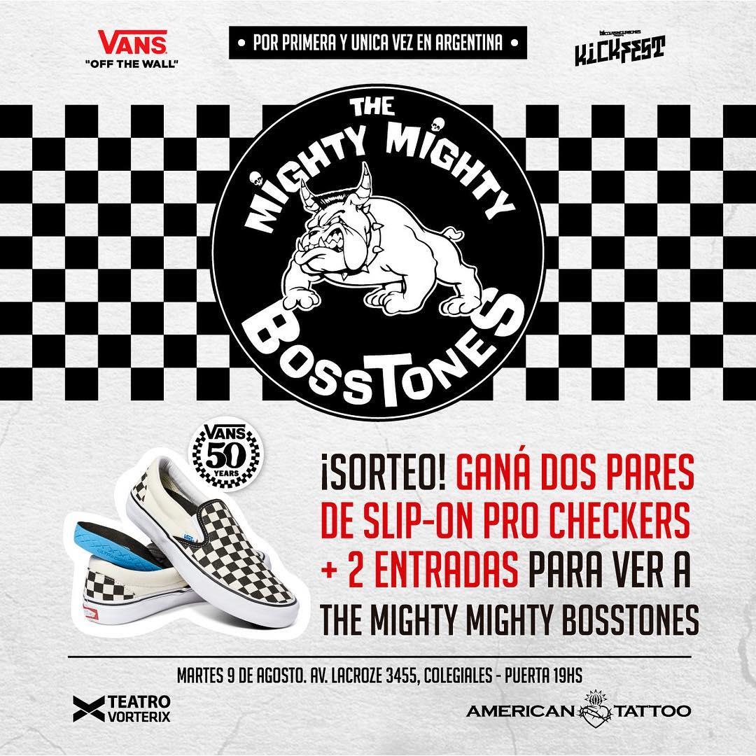 ¡Buen día! En este comienzo de semana tenemos sorteo: 2 pares de #SlipOn y 2 entradas para ver a Mighty Mighty Bosstone el 9/8 en el Vorterix. Para participar nos tenés que seguir y etiquetar a 3 amigos o amigas. A la noche anunciamos ganador/a.