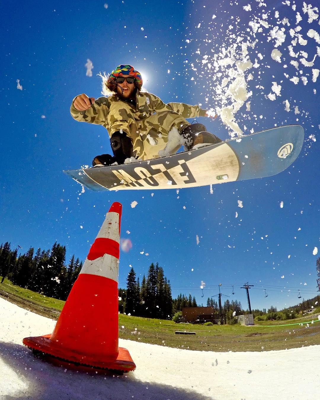 @timhumphreys having some summer fun popping cones at @woodwardtahoe. Shot with GoPro HERO4 in Burst Mode via Smart Remote and GoPole Base.  #gopro #gopole #gopolebase #snowboarding @flowsnowboardn