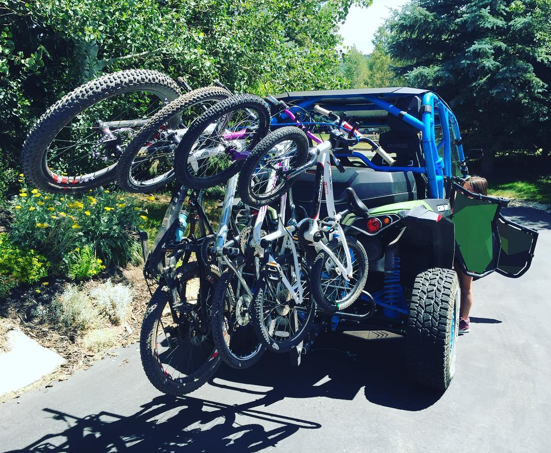 After a fun day of downhilling yesterday, I loaded up the kids and our Specialized bikes and headed over to the local bike park in our @CanAmOfficial Maverick. Yeah, I realize this may be a little ridiculous. Just a little. Ha. I think our kids...