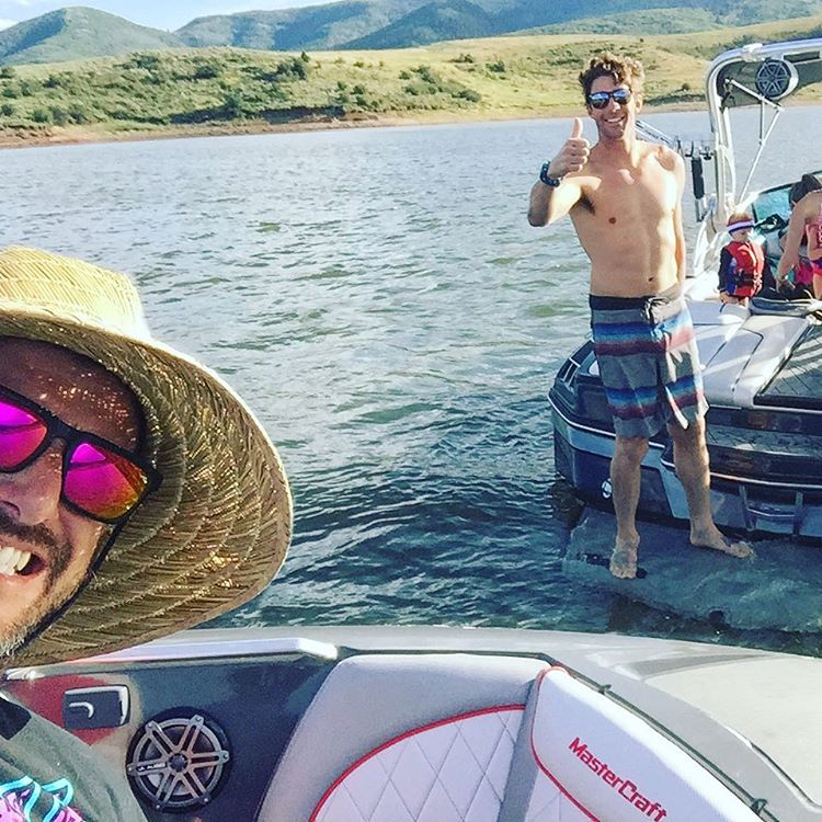 Summer lake squad! After running/hosting the @NitroCircus #NitroWorldGames, my buddy @TravisPastrana came out to my part of town with his wife @LynzSkate and their kids to have some fun aboard our MasterCraft wakeboard boats. Travis can't really do...