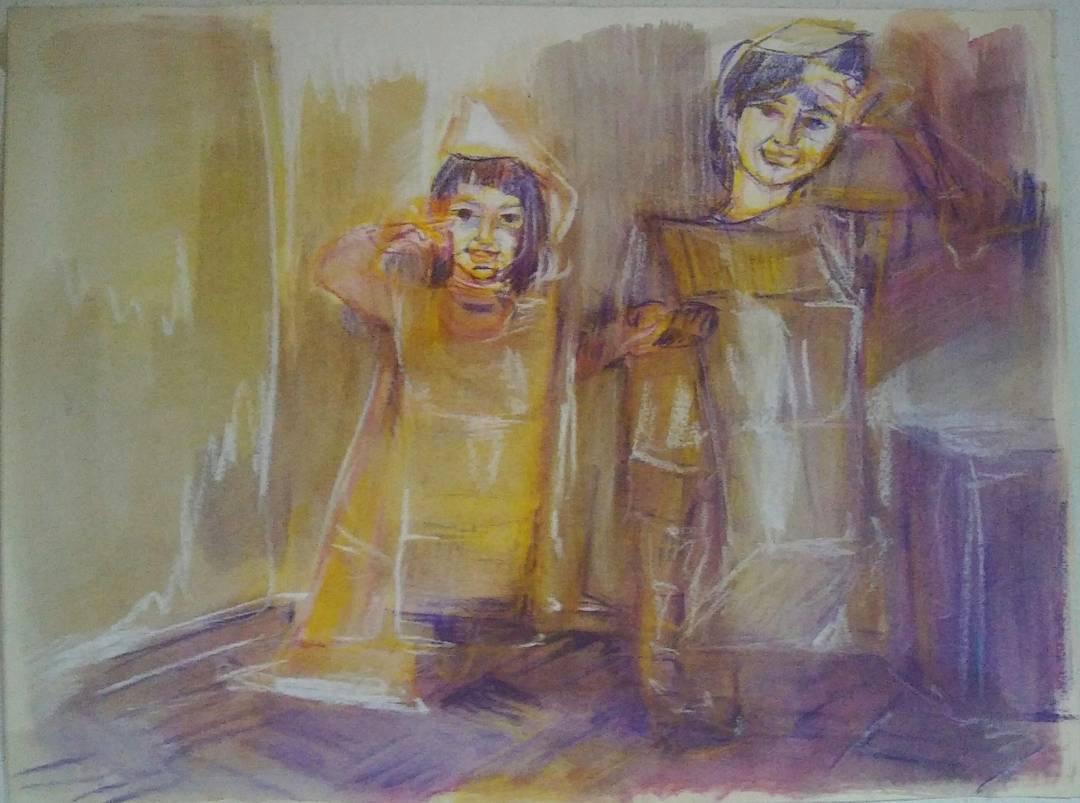 #drawing #art #arte #artwork #pintando #tiza #acuarelas #aquarelle #watercolour #sister #sisters #habibe #hb  Dicen que uno aprende a valorar lo que tenían cuando lo pierde... Tengo la certeza que no voy a perderte, porque como ya te dije lo nuestro va...