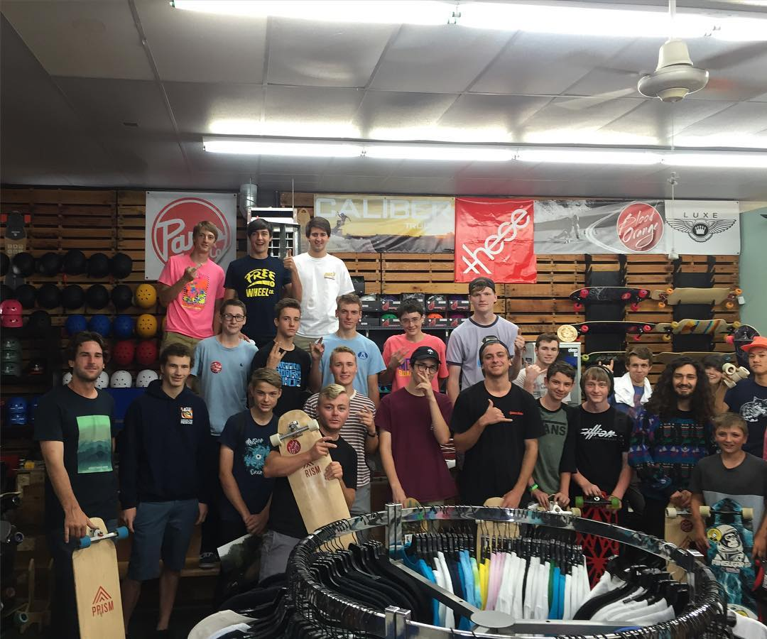 the boys stopped by @motionboardshop today and are now out seasoning with the crew. looks like fun!