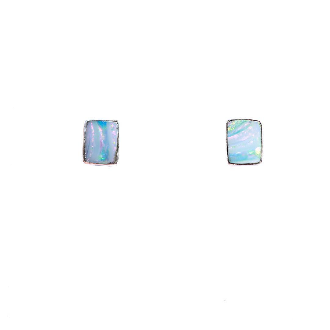 Stunning new Opal Earrings! Custom rectangle cut, small and petite enough to wear each and every day