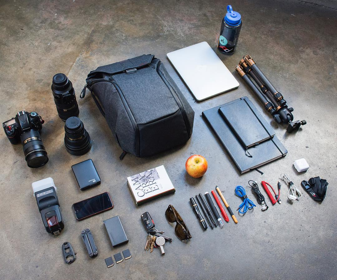 The Everyday Backpack 20L. It holds and organizes a ton of gear - this is an easy carry for the bag with the holy trinity of lenses, a flash, and a tripod. Link in profile to the Kickstarter campaign - preorder yours today! #findyourpeak #pdkickstarter16