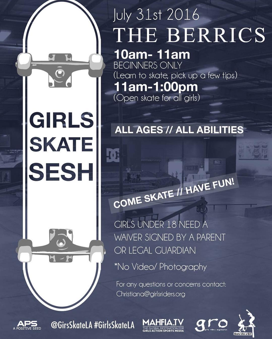 Save the date! Calling all #ladiesofshred in the greater Los Angeles area and beyond. Join @GirlsSkateLA July 31st 10am-1pm for an all girls skate session at The Berrics! From 10am - 11am there will be a beginners only session, a time for those...