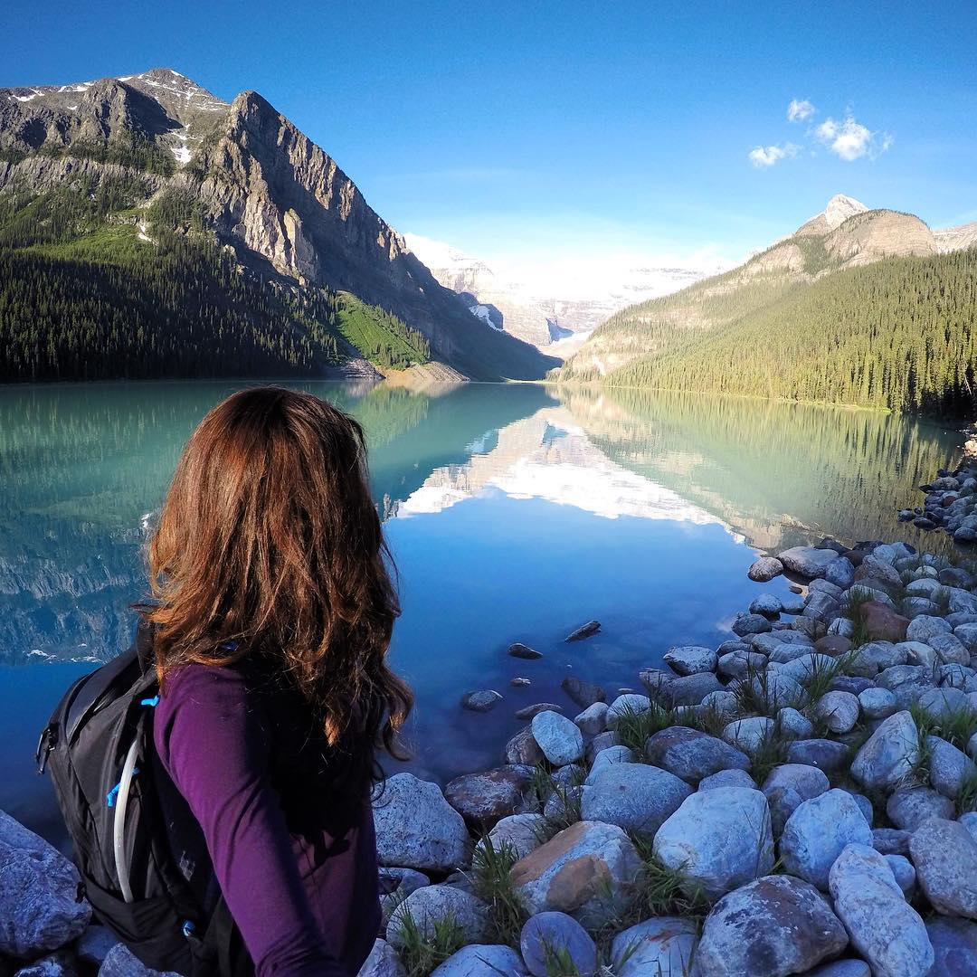 "Our #WCW is #GoPro family member @melissa_hartwig! ""I hiked about 15km starting at the Chateau and headed up the 6.6km trail to the viewing point for the #PlainOfSixGlaciers. Coming back I looped around the Highline trail to see #MirrorLake and..."