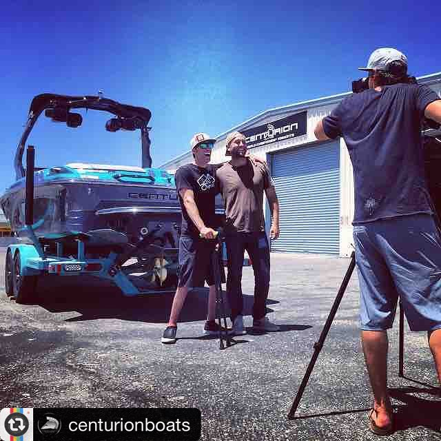 "Thank you @bigtruckbrand for empowering this dream come true!!!! #Repost from @centurionboats: ""#Team #Rider #GrantKorgan with #GalenGifford from #BigTruckBrand picking up the their new #centurionboat for some #FunFirst this summer on the lake!..."