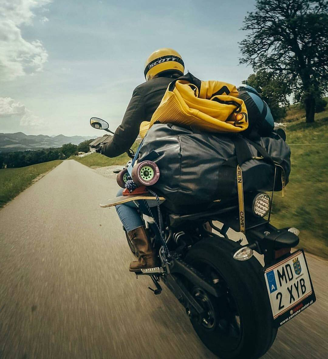 #OrangatangAmbassador @glorifiziert doesn't rely on snail mail to get her gear to the next event! Thanks to motorcycles she can still practice race lines while her wet leathers and setup can dry out after a rainy race at Almatrieb!  Photo: Shaaf...