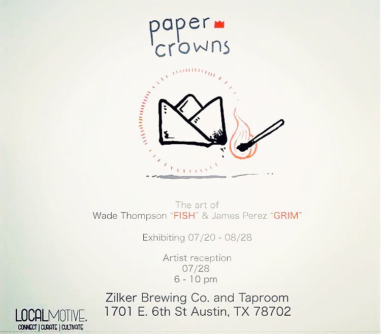 "@manwithpencil & @grim_atx will be exhibiting at @zilkerbeer for their ""Paper Crowns"" show. The reception will be 7/28 • • Two genuine artists you must check out. Another dope show produced by LocalMotive @localmotive512 • • #ATX #austinitx #texas #tx..."