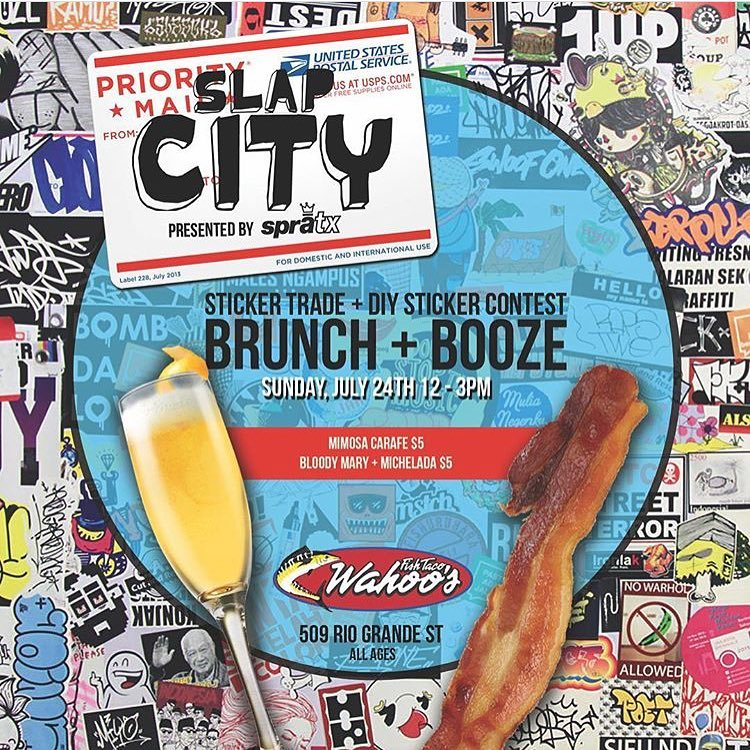 Sunday Funday Booze and Brunch!!! This Sunday, July 24th, we're hosting a party at @wahoosfishtacoatx from 12-3pm. Bring your best sticker designs for trading and art supplies for creating new stickers. Best custom sticker design wins a grand...