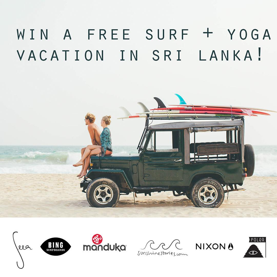 Win a Surf & Yoga Vacation in Sri Lanka at @sunshinestories retreat! We teamed up with friends to give one lucky winner a dream trip and goodies take with you: a free @bingsurfboards board, @theseea suits, @nixon_now blaster, watch and backpack,...