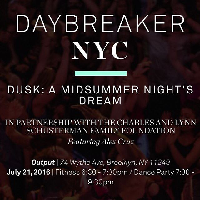 are you ready to dance the night away? join us tomorrow for a special edition of relaxation and fun for DUSK with @dybrkr, @dostoros anddd the amazing tunes of @alexcruzmusic. Tix via link in bio!  #daybreaker #lifewithoutlaces