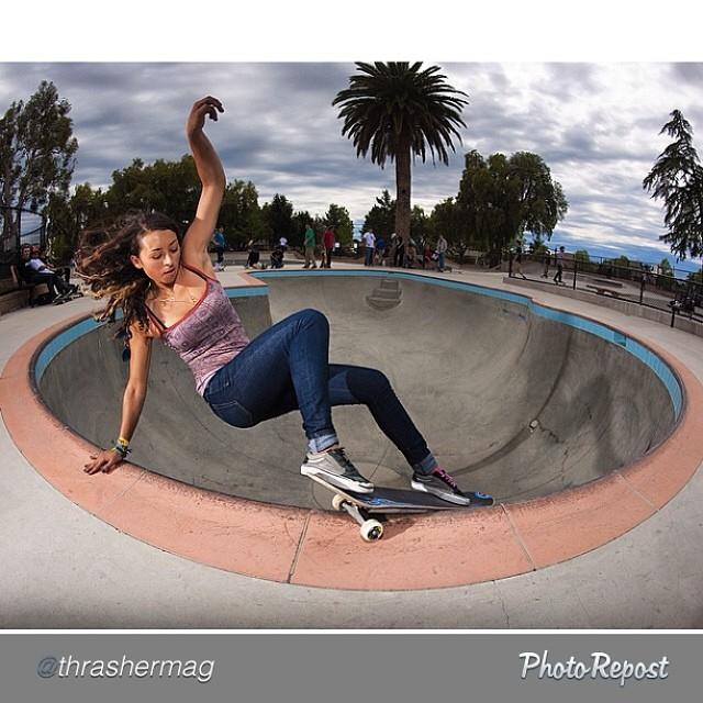 @thrashermag spread of @lizziearmanto, layback Smith at Moorpark. PC: @burnout #skate #skateboarding #skateboard #skatelife #girlsthatshred #skatergirl #thrasher