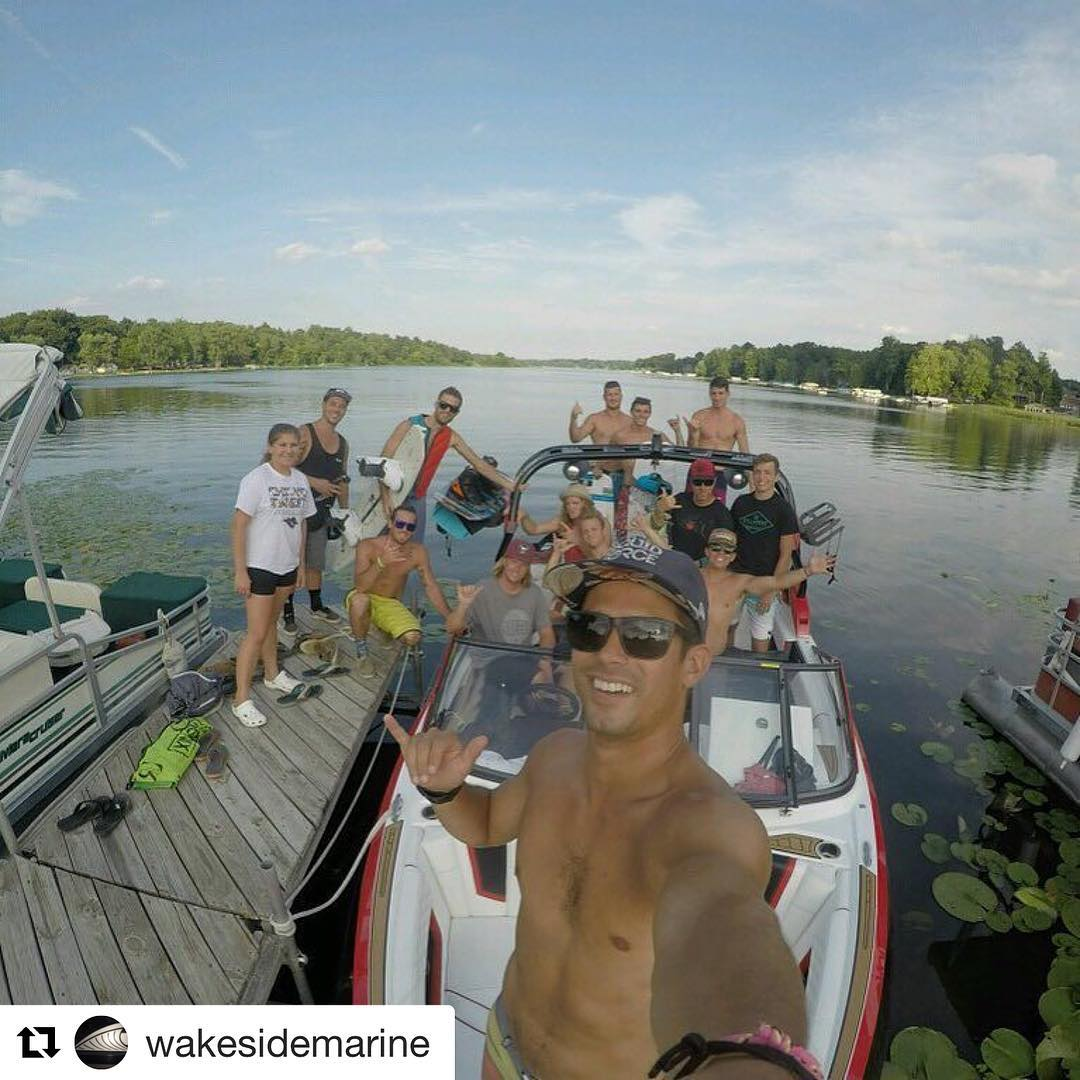#Repost @wakesidemarine ・・・ Killer day wakin' the lake with Tom and Tyler of Liquid Force!  #makewakeboardinggreatagain #gopro @gopro