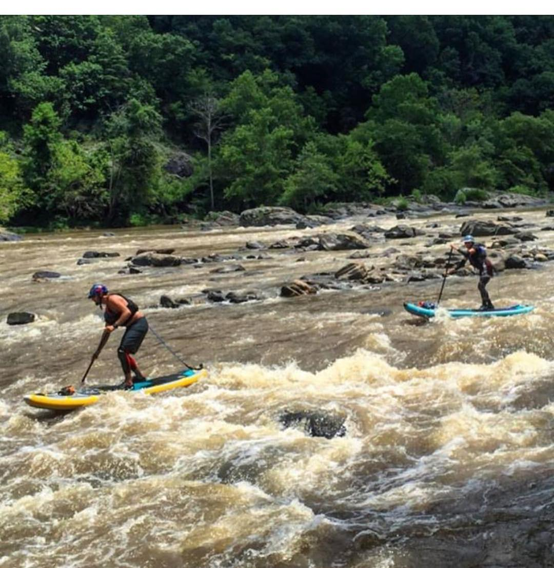 @jacknife28 and @hobiecatdog cruising through Turtle Rapid on Section 9 of the French Broad.