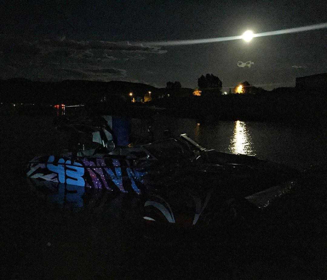 Full moon camping on a lake in #ParkCity. I like! #summervibes #MasterCraftX30