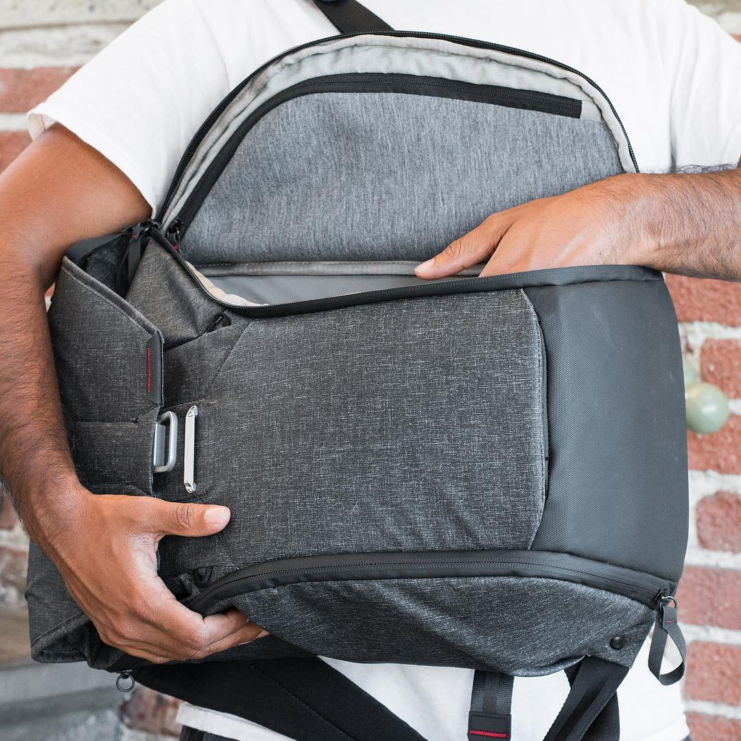 All of your gear, right at your fingertips. Oh yeah, and the bag never leaves your body. The Everyday Backpack, live on @kickstarter. #pdkickstarter16 #findyourpeak