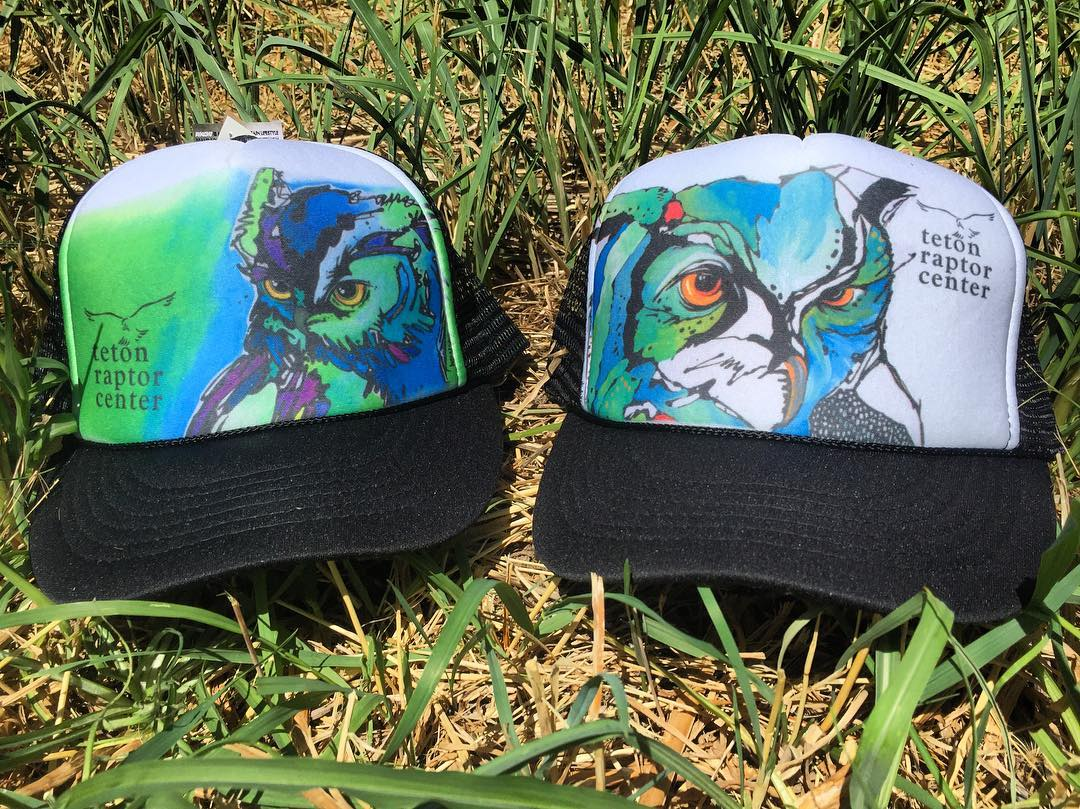 Our newest trucker hat collaboration with JH artist @nicolegaitan11 look amazing! Available exclusively at the @tetonraptorcenter to help raise money for their injured birds rehabilitation programs. Stop by and grab one before they are gone!  #avalon7...