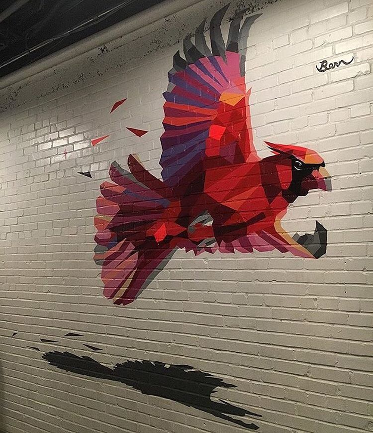 "@akbernal with @karribernal ""berning"" it up! • • #ATX #austinitx #texas #art #mural #redbird #spratx"