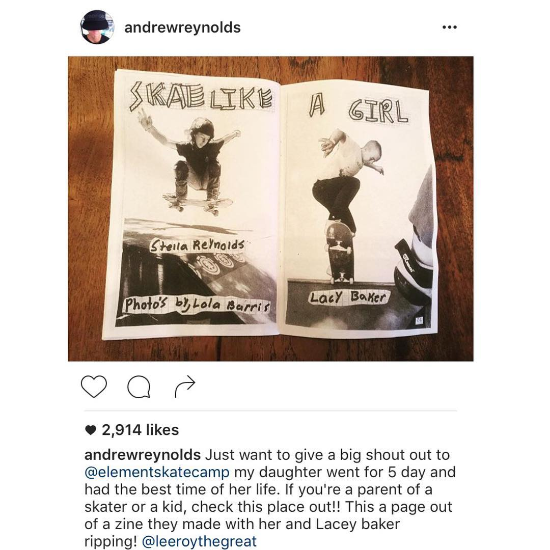 """Boss man approved! >>> """"If you're a parent of a skater or a kid, check this place out!! """" >>> Thank you @andrewreynolds for the @elementskatecamp love and for being an inspiration to us all!"""