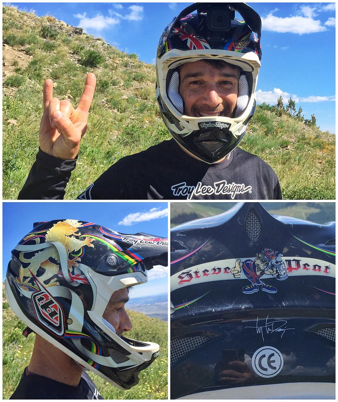 I haven't ridden with my buddy Noah Brandon for a while, so it was really cool to see him show up today with this rad limited-edition @StevePeat helmet from @TroyLeeDesigns. Kind of a funny coincidence too, considering some things that are happening...