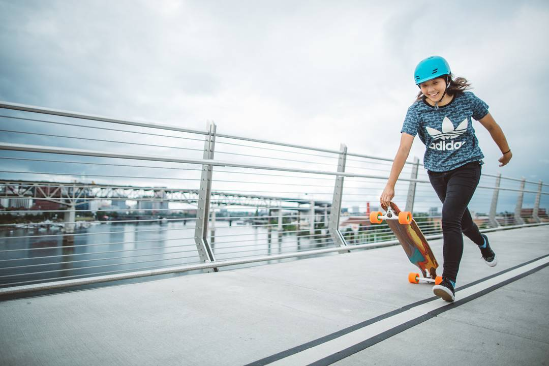 #LoadedAmbassador @iamcindyzhou getting a running start into her weekend with the Loaded Icarus.  Photo: @skatography  #LoadedBoards #Icarus #TheIcarus #LoadedIcarus #Orangatang #Orange #Kegels