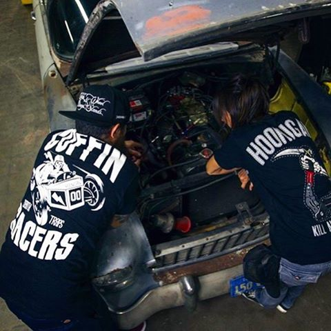 Hoods up, tools out. The Coffin Racers tee. Get it on #HooniganDOTcom