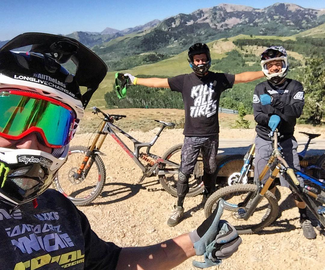 Look who's in town to shred the downhill trails for the week: world champ and @MonsterEnergy teammate @StevePeat! We spent his first day in town up on some of my favorite trails with Noah Brandon. Much fun. Looking forward to a fun week with this dude....