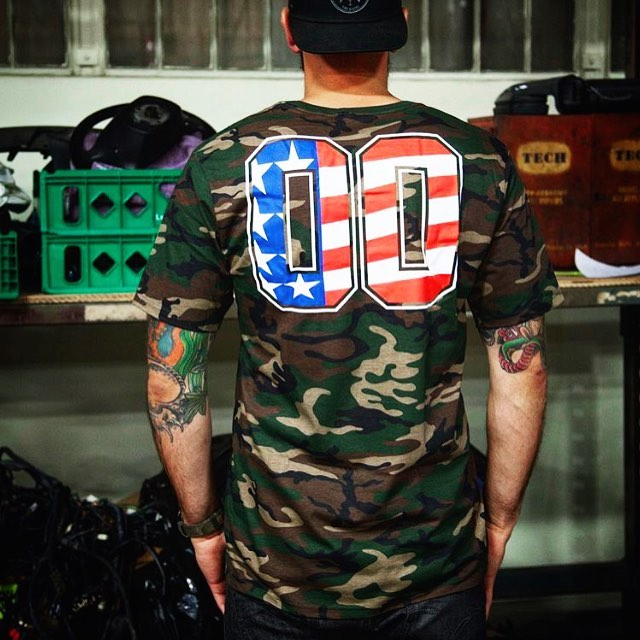 Our Hi-Camo tee - Available now on #hooniganDOTcom #camo #redwhiteandblue