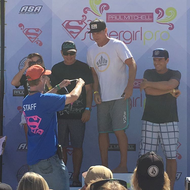 BBR Surfwear Founder, Matt Stone and Dimity Stoyle accept 2nd place in the Supergirl Pro celebrity surf contest on behalf of Project Save our Surf, while Henry Dittman and his teammate takes 3rd, and bringing the big win, Brian Van Holt and his...