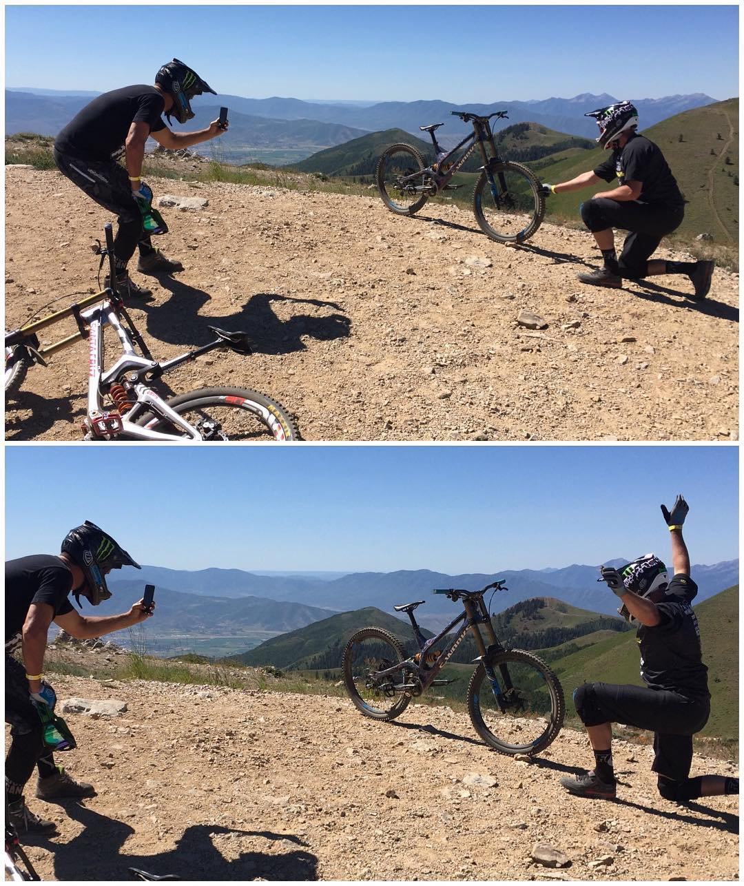 "Behind-the-scenes shot of how we made that ""Instagram magic"" photo I posted yesterday of my Specialized Demo8 free standing at the top of Park City's mountains. I love little tricks like this (every industry has these funny little photo tricks), and it..."
