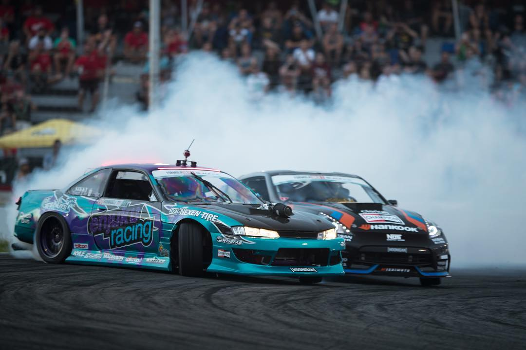The dudes, @alechohnadell (lead) and @chrisforsberg64 (chase) battling it out at FD Canada! Photo cred: @larry_chen_foto #hoonigan #formuladrift #drift