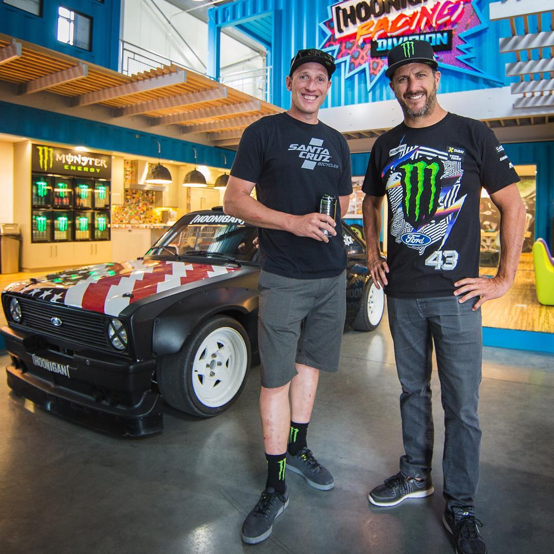 Welcomed Mr. @StevePeat to the Hoonigan Racing HQ today. Always stoked to have a fellow @MonsterEnergy teammate (and downhill mtn. biking world champion!) in town. Gave Peaty a tour of the #HRD_HQ this afternoon as we get started on a fun week of mtn....
