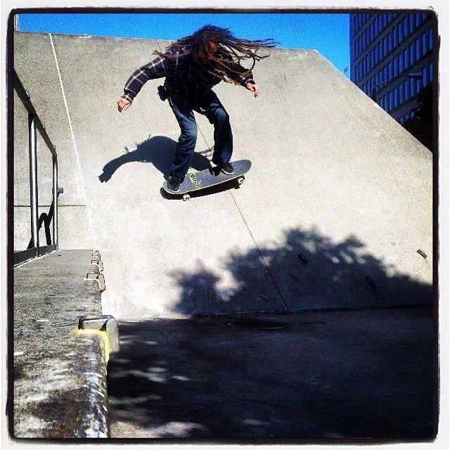 Team rider Adrian Da Kine-- @adrian_da_kine taking it to the bank.  Have a great weekend skateboarding!