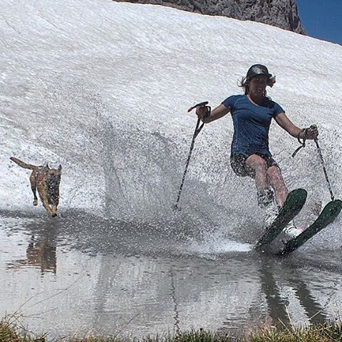 #Skiing: it's not just for winter. @Hutchski takes a quick skim and survives another day of summer. ---------------- #sisterhoodofshred #skiing#chooseadventure  #ski #skis #women#mountaingirls #mountains #mountaingirls#alpinebabes #summer...